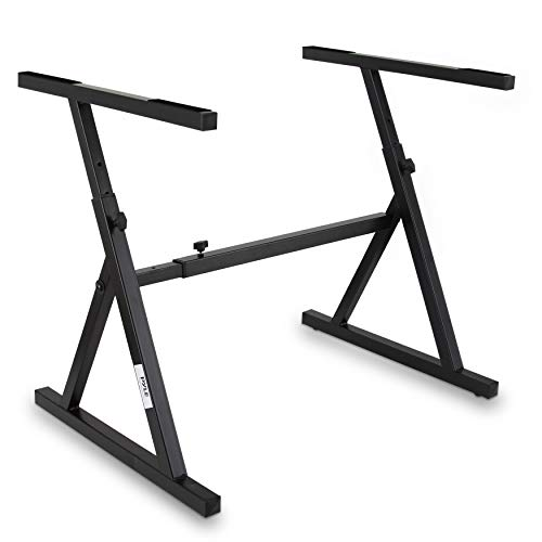 Heavy Duty Folding Keyboard Stand - Sturdy Reinforced Z Design w/ Adjustable Width & Height, Foam Padded Arms, Digital Piano Stand, Fits 54-88 Key Electric Pianos, for Travel & Storage - Pyle PKST38