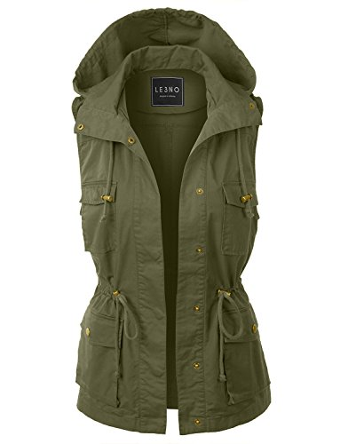 (LE3NO Womens Drawstring Waist Hoodie Military Anorak Vest with Pockets,L3nwv3179_lightolive,Medium)