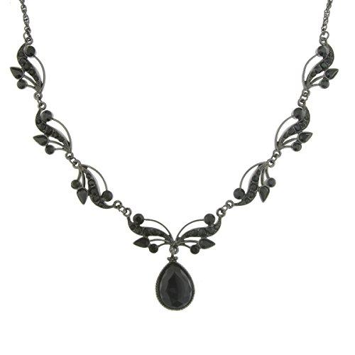 re Jet-Tone Black Swarovski Crystal Vine Necklace (Jet Tone Crystal Necklace)