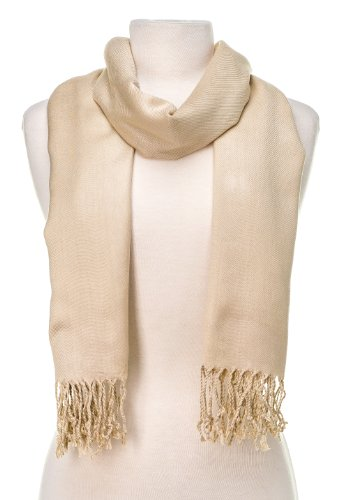 Noble Mount Solid Plain Pashmina with a Complimentary Gift - Beige