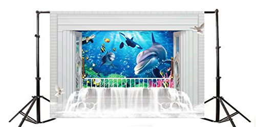 Yeele 5x3ft Aquarium Photo Backdrops Vinyl Oceanic Whale Sea Turtle Anemone Fish coral Underwater Animal World Bubbles Photography Background White Dove Baby Girl Portrait Photo Studio Props
