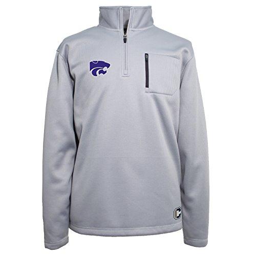 (Crable NCAA Kansas State Wildcats Men's 1/4 Zip Textured Bonded Jacket, X-Large, Platinum)