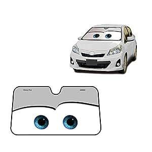 Eyes Heated Windshield Sunshade Car Window Windscreen Cover Sun Shade Auto Sun Visor Car-covers UV Protection (Black) (Grey)
