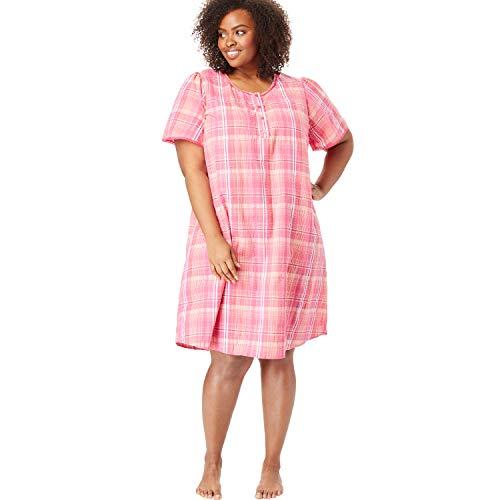 Dreams & Co. Women's Plus Size Short Seersucker Henley Nightgown - Peony Petal Plaid, 18/20