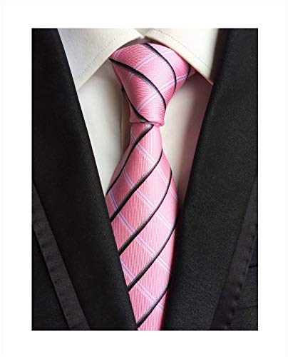 Blush Pink Silk Wedding Tie Classic Plaid Fashion Daily Wear Working for Men Boy (Stripe Silk Tonal)