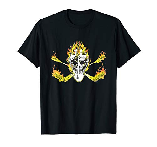 Hockey Pirate Skull Crossbones Goalie Sticks Flames Mask T-Shirt