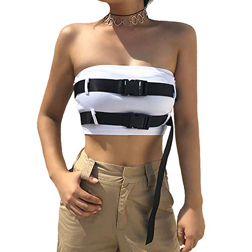Women Patchwork Hollow Out Adjustabe Waist Checkerboard Strapless Tube Tops