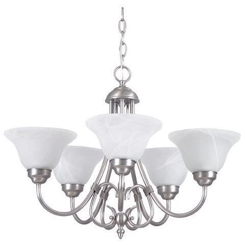 Sunset Lighting F6345-53 Madrid – Five Light Chandelier, Satin Nickel Finish with Faux Alabaster Glass