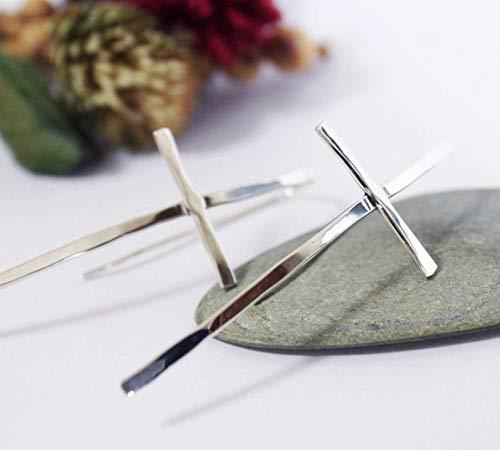 Sterling Silver Cross Earrings, Hammered Cross Dangle Earrings, Silver Hook Earrings, Silver Simple Earrings - Handmade Cross Earrings