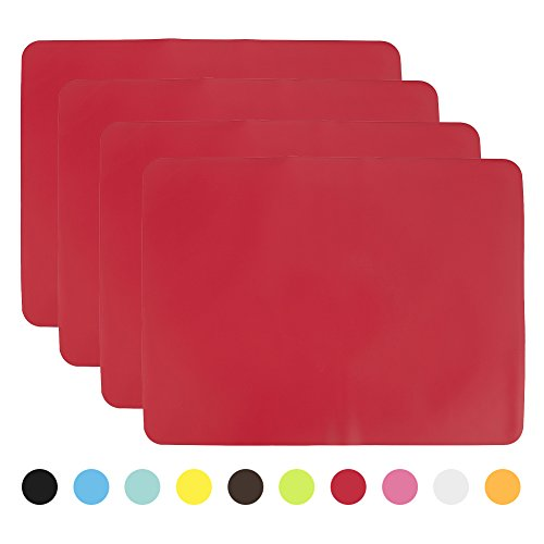 Aspire Non-Slip Silicone Placemats / Hot Mats / Tablemats, Set Of 4 - Red