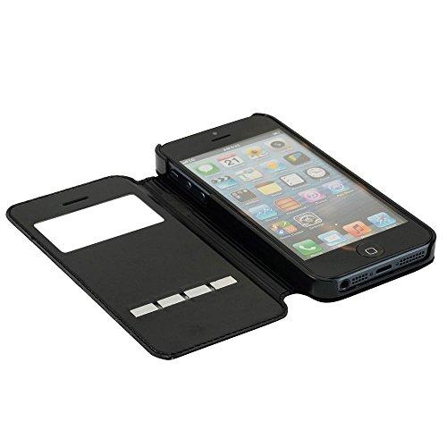 Bookstyle Flip Case für Apple iPhone 4 / iPhone 4S / View Windows / Standfunktion / Metall Streifen Touch / Schutzhülle in Schwarz