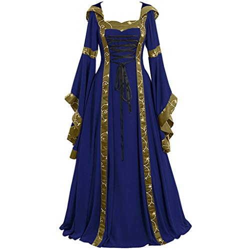 Costume Crazy Online (Aunimeifly Gothic Evening Party Gown Cross Lacing Maxi Dress Women's Vintage Celtic Medieval Dresses Cosplay Costume)