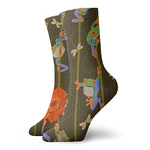Frogs And Flowers Ankle Socks Casual Funny For Sports Boot Hiking Running -