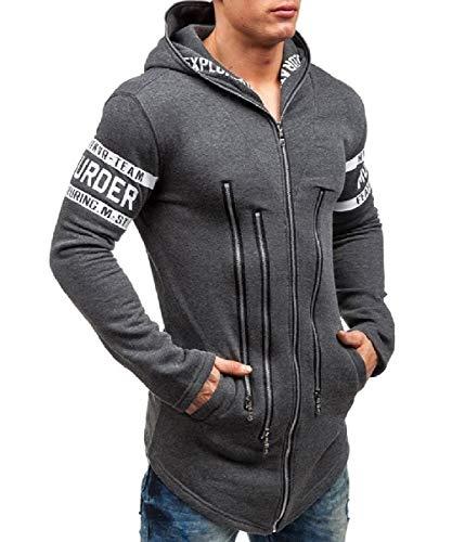 Size Juniors Sweatshirts Autumn Mogogo Plus up Fit Dark Zip Mens Outwear Hood Grey qIxwZS