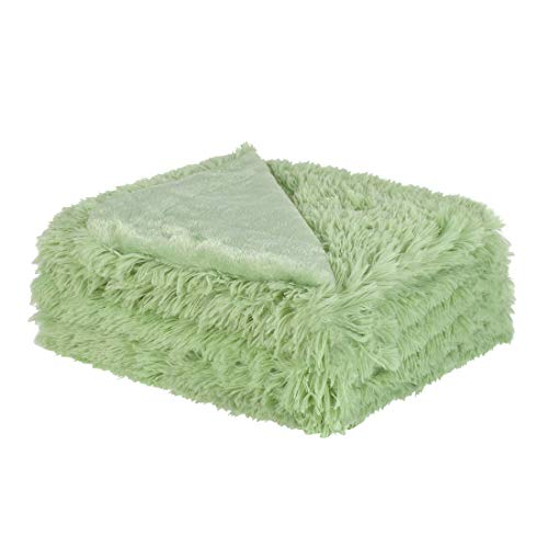 - uxcell Solid Faux Fur Throw Blanket 50 inches x 60 inches - Decorative Fuzzy Long Shaggy Blankets Lightweight Long Fur Microfiber Fleece Blanket for Couch and Sofa - Keep Warmth for Years,Pale Green