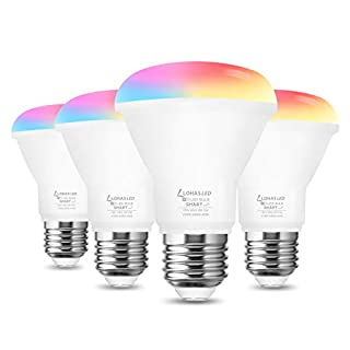 LOHAS Smart Light Bulb, 8W(60W Equivalent) RGB Color Changing Light Bulb, Dimmable BR20 WiFi Light Bulb Works with SIRI Alexa Google Assistant, E26 Flood Light Bulbs for Party Home, 4 Pack