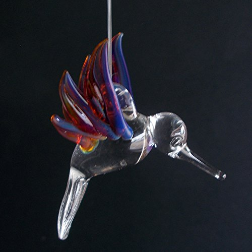 Hand Blown Glass Hanging Hummingbird with Amber Purple Wings Ornament