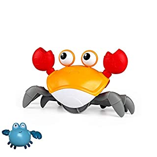 EAZZ Amphibious Cute Wind up Swimming Crab Bath Toys for Toddlers, Babies - 2 in 1 Baby Bathtub Toy- Push and Pull Toy,Walking Toys (Red)
