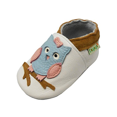 Sayoyo Baby Owl Shoes Soft Leather Sole Infant Toddler Prewalker Shoes (12-18 months, White)