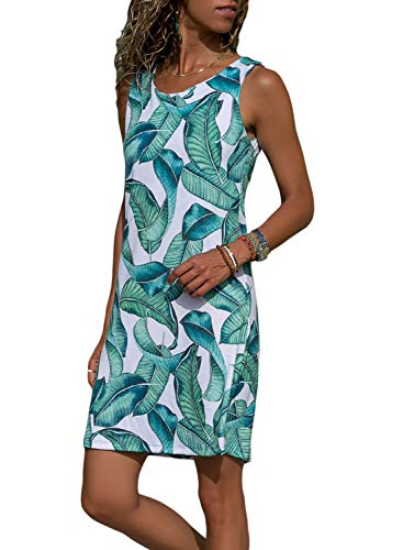 (HOTAPEI Women's Juniors Sleeveless Summer Green Leaf Print Mini Tank Vest Dress Loose Tshirt Dress Sundresses for Women Casual Beach XL )