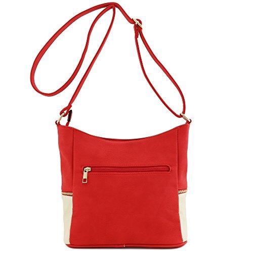 Crossbody Red Tassel Zipper Ivory Bag Bucket TxxPqY1