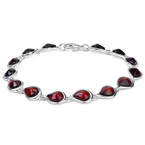 Ambre rouge foncé Argent sterling goutte Bracelet 19,1cm