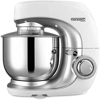 Monzana Robot de cocina multifunción Blanco batidora amasadora mezcladora con bol de 4,5L 3 accesorios y 7 velocidades: Amazon.es: Hogar