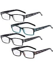 Eyekepper Reading Glasses 4 Pack Fashion Spring Hinge Readers Great Value Quality Glasses Women Reading +3.00