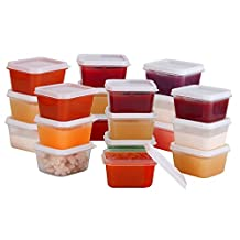 Greenco Mini Food Storage Containers, Condiment, and Sauce Containers, Baby Food Storage and Lunch Boxes, Leak-resistant, 2.3 oz Each, Set of 20