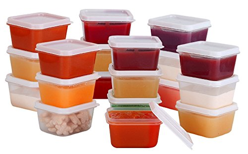 Greenco Mini Food Storage Containers, Condiment, and Sauce Containers, Baby Food Storage and Lunch Boxes, Leak-resistant, 2.3 oz Each 20 count