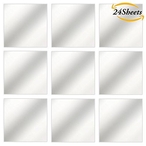 Aneco 24 Sheets Flexible Mirror Sheets Mirror Wall Stickers Self Adhesive Plastic Mirror Tiles for Home Decor, 6 Inch by 6 Inch (6 Inch by 6 Inch) (Plastic Transparent Mirror)