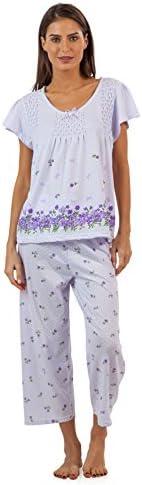 Casual Nights Women's Short Sleeve Floral Border Capri Pajama