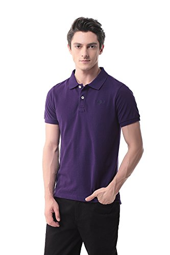 Pau1hami1ton T 06 Mens Casual Classic Pure Cotton Solid Golf Short Sleeve Polo Shirt  L Purple