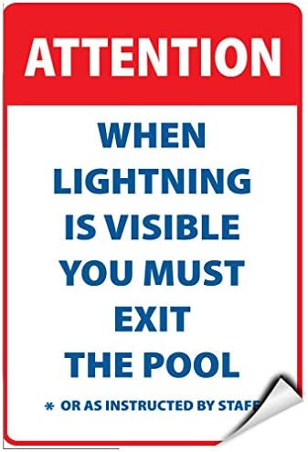 Label Decal Sticker Attention When Lightning Is Visible Exit Pool Durability Self Adhesive Decal Uv Protected & Weatherproof