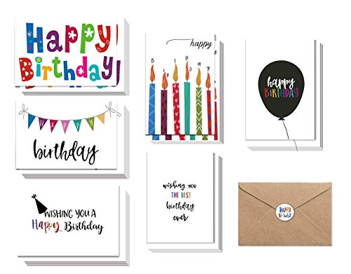 Birthday Cards, 48 Bulk Happy Birthday Cards, Assorted Birthday Cards with Envelopes and Seals, Anniversary Congratulations Cards 4 x 6 inch Handwritten Creative Colorful Design Blank on the Inside ()