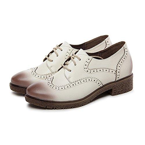 Shenn Mujer Con Cordones Cuero Brogue Zapatos de Vestir 588 Blanco