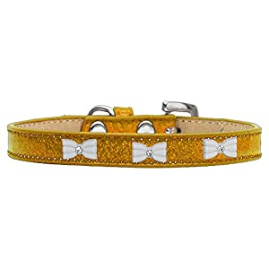 Mirage Pet Products 633-6 GD10 White Bow Widget Gold Ice Cream Dog Collar, Small Click on image for further info.
