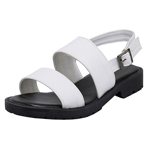COOLCEPT Women Buckle Strap Sandals Shoes White