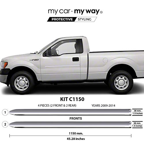 MY CAR MY WAY (Fits) Ford F150 2009-2014 6.5′ Box Regular Chrome Body Side Molding Cover Trim Door Protector