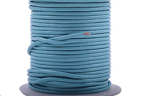 (KONMAY 25 Yards Solid Round 2.0mm Turquoise Genuine/Real Leather Cord Braiding String (2.0mm, Turquoise))