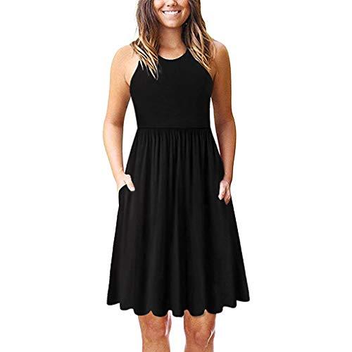 Women Sleeveless A-Line Swing Dress | Ladies Pleated Round Neck Casual Vest Dresses Spaghetti Sundress