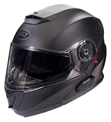 Bilt Techno 2.0 Sena Bluetooth Evolution Modular Helmet - SM - Matte Black (Best Modular Helmet With Bluetooth)