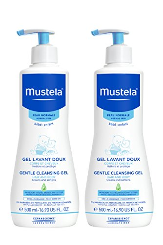 Mustela Gentle Cleansing Gel, Baby Hair & Body Wash, Plant-Based Formula with Natural Avocado Perseose fortified with Vitamin B5, 16.90 Fl Oz, Pack of 2