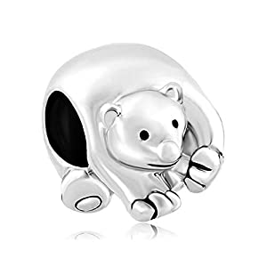 ShinyJewelry Cute Polar Ice Bear Animal Beads Charms for Charm Bracelet