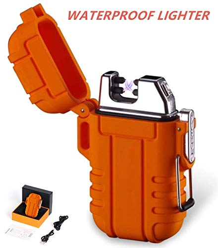 - Outdoors Waterproof Lighter USB Electronic Rechargeable Pulse Plasma Lighter Double Arc Plasma Lighter Perfect for Outdoors Camping Hiking Travelling Gas Stove BBQ Camping Trip Fire Starter (Orange)