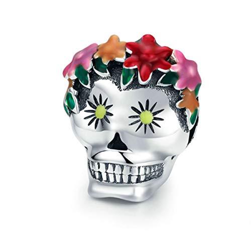 Eternalll Jewellery for Women 925 Sterling Silver Beads Halloween Pumpkin Skull Enamel Charm for Pandora Bracelets (Skull Charms)