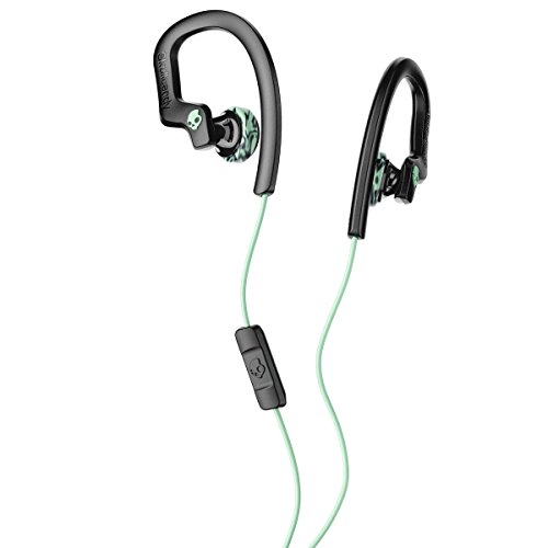 Skullcandy Chops Flex Sweat-Resistant Sport Earbud with in-Line Microphone and Remote, Comfortable and Secure Flexible Ear Hanger, Mint/Black