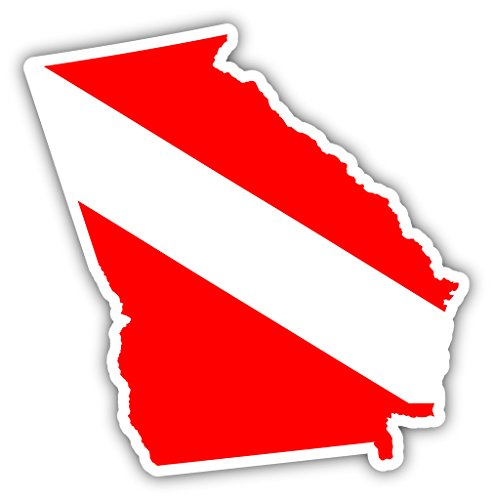 Georgia Flag Stickers (Georgia State Shaped Scuba Diver Scuba Diving Dive Down Flag Bumper Sticker Decal Car Window Stickers 4x4 in)