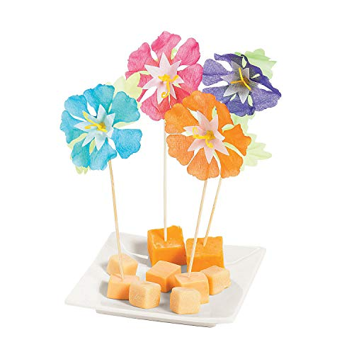 Fun Express - Hibiscus Flower Picks - Party Item for Boys and Girls of All Ages - Great for All Celebrations