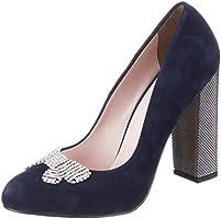 Kuum Kadın Süet Ökçe Kapalı Burun Ayakkabı, Lacivert, 36 Numara